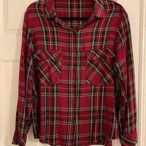 Sanctuary Cabernet Tartan Plaid Boyfriend Shirt